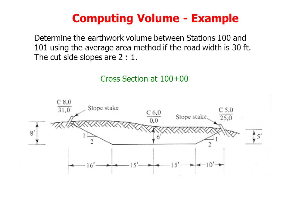 Computing Volume - Example Determine the earthwork volume between Stations 100 and 101 using the average area method if the road width is 30 ft.