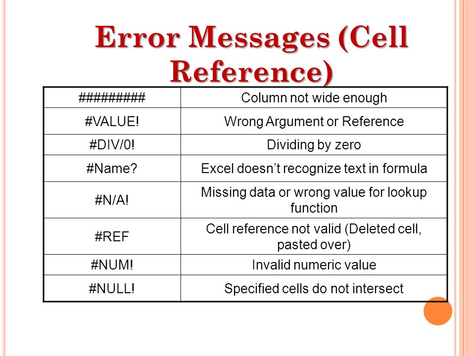 Error Messages (Cell Reference) #########Column not wide enough #VALUE!Wrong Argument or Reference #DIV/0!Dividing by zero #Name Excel doesn't recognize text in formula #N/A.