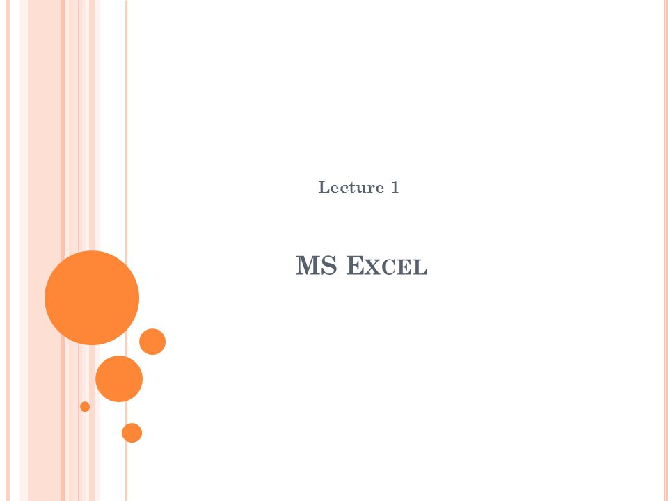 MS E XCEL Lecture 1