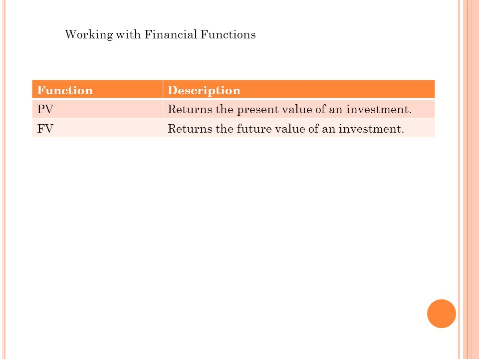 Working with Financial Functions FunctionDescription PVReturns the present value of an investment.