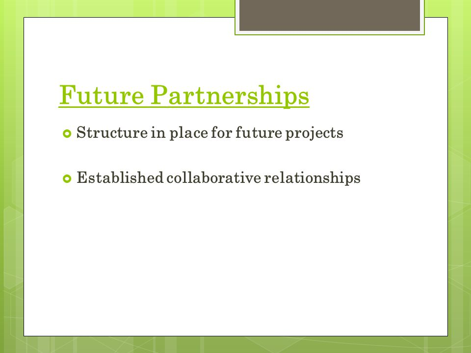 Future Partnerships  Structure in place for future projects  Established collaborative relationships