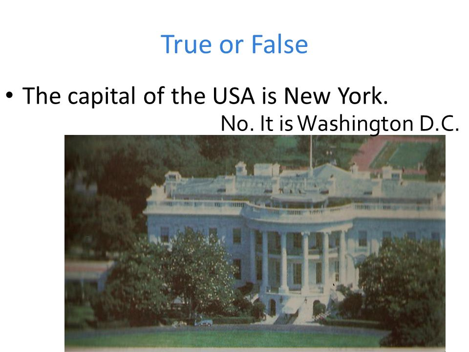 True or False The capital of the USA is New York. No. It is Washington D.C.