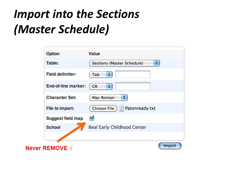 Import into the Sections (Master Schedule) Never REMOVE √