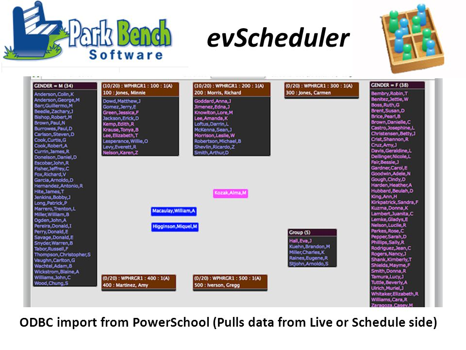 evScheduler ODBC import from PowerSchool (Pulls data from Live or Schedule side)