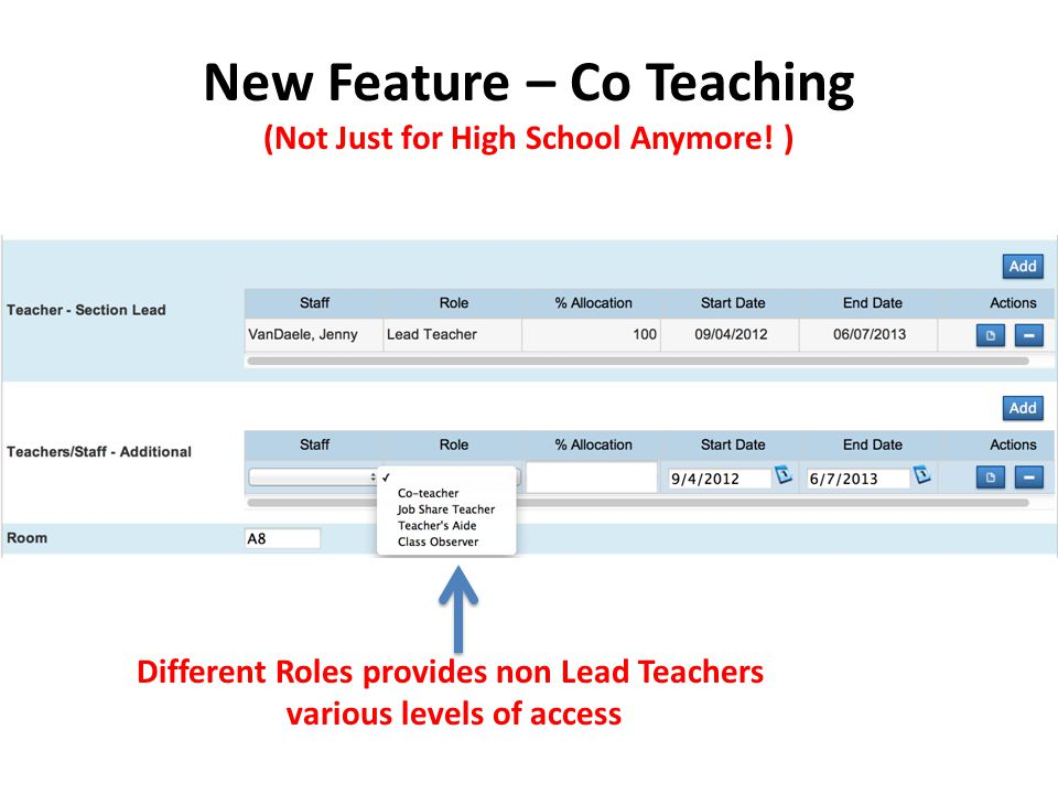 New Feature – Co Teaching (Not Just for High School Anymore.