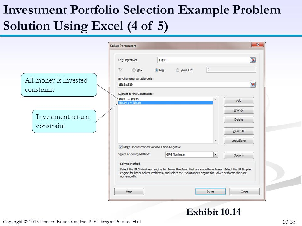 10-35 Copyright © 2013 Pearson Education, Inc. Publishing as Prentice Hall Exhibit 10.14 Investment Portfolio Selection Example Problem Solution Using
