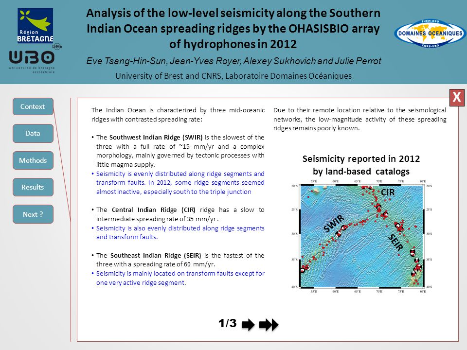 Analysis of the low-level seismicity along the Southern Indian Ocean spreading ridges by the OHASISBIO array of hydrophones in 2012 Eve Tsang-Hin-Sun, Jean-Yves Royer, Alexey Sukhovich and Julie Perrot University of Brest and CNRS, Laboratoire Domaines Océaniques X Mw 5.3 See table for detailstable C3 : S/A hotspot Supposed mainshock : 12 November 2012 23:02:14 (AUH) - 23:02:23 (ISC), Mw 5.3 This sequence occurred on a transform fault related to the St-Paul and Amsterdam hotspot.