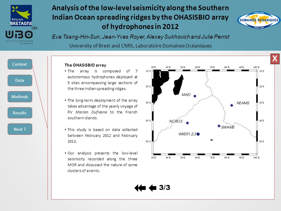 Analysis of the low-level seismicity along the Southern Indian Ocean spreading ridges by the OHASISBIO array of hydrophones in 2012 Eve Tsang-Hin-Sun, Jean-Yves Royer, Alexey Sukhovich and Julie Perrot University of Brest and CNRS, Laboratoire Domaines Océaniques a) b) c) X a)Seismicity rate for the year 2012 as a function of distance from the Rodrigues triple junction.