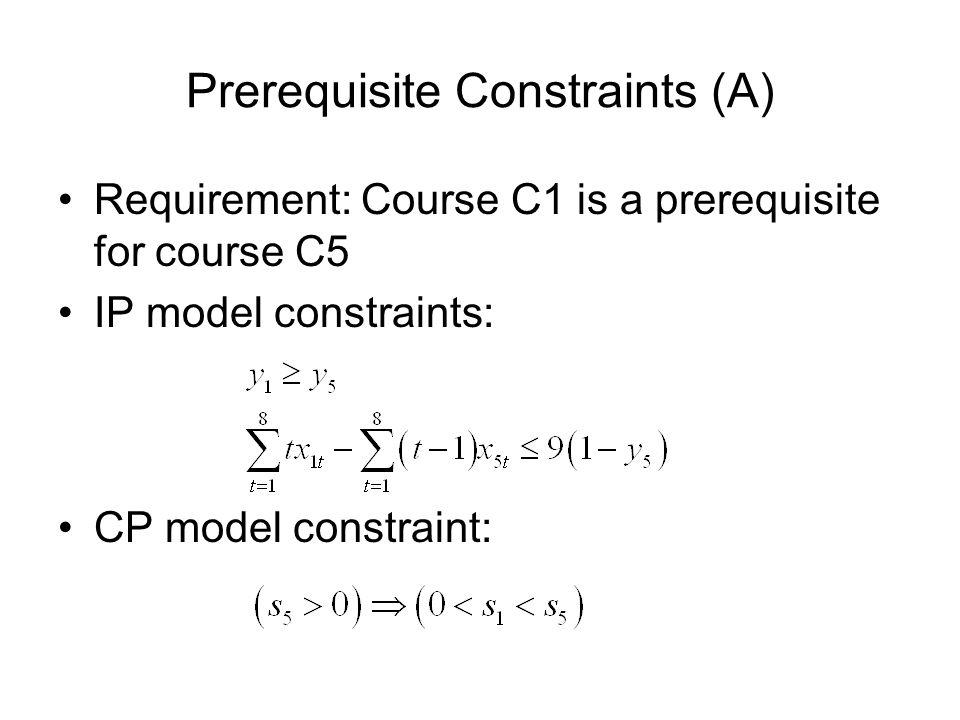 Prerequisite Constraints (A) Requirement: Course C1 is a prerequisite for course C5 IP model constraints: CP model constraint: