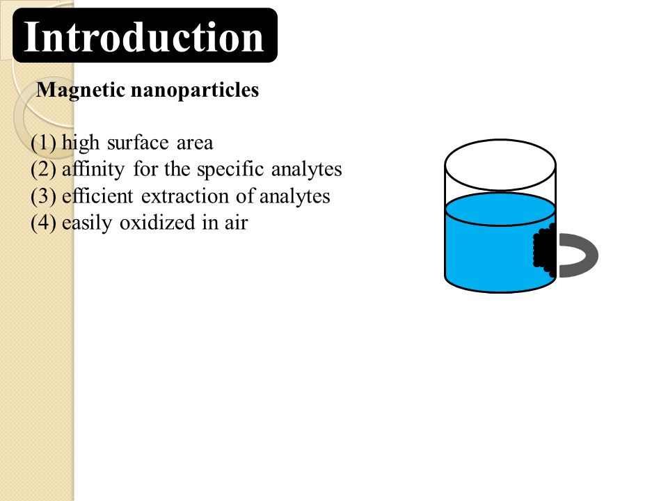Introduction Magnetic nanoparticles (1) high surface area (2) affinity for the specific analytes (3) efficient extraction of analytes (4) easily oxidized in air