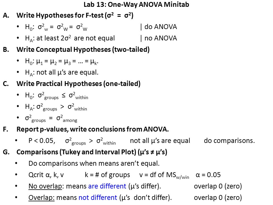 Lab 13: One-Way ANOVA Minitab A.Write Hypotheses for F-test (σ 2 = σ 2 ) H 0 : σ 2 w = σ 2 W = σ 2 W | do ANOVA H A : at least 2σ 2 are not equal| no ANOVA B.Write Conceptual Hypotheses (two-tailed) H 0 : μ 1 = μ 2 = μ 3 = … = μ k.