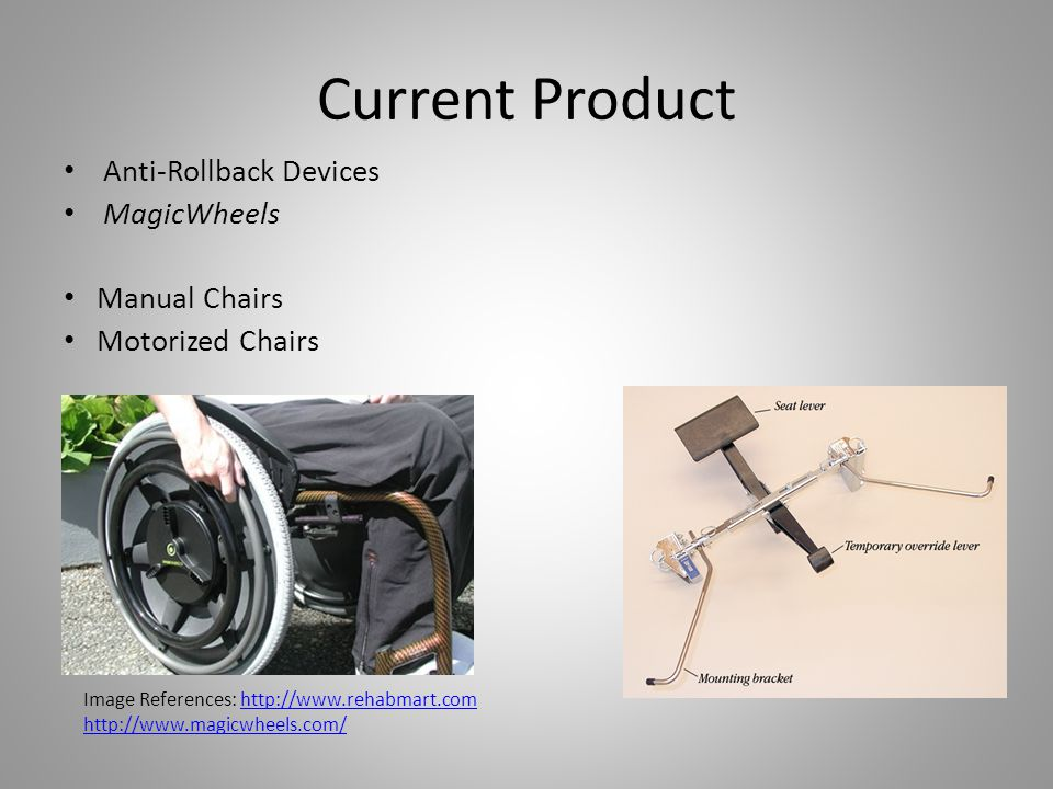 Current Product Anti-Rollback Devices MagicWheels Manual Chairs Motorized Chairs Image References: http://www.rehabmart.comhttp://www.rehabmart.com ht