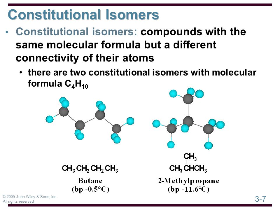 3-7 © 2005 John Wiley & Sons, Inc. All rights reserved Constitutional Isomers Constitutional isomers: compounds with the same molecular formula but a
