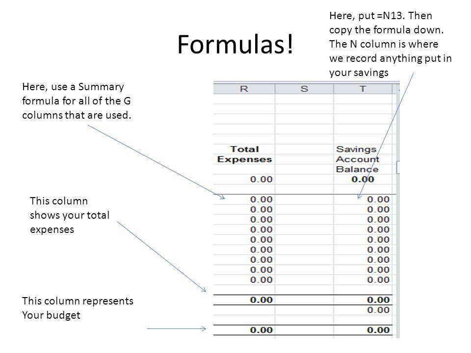 Formulas. Here, use a Summary formula for all of the G columns that are used.