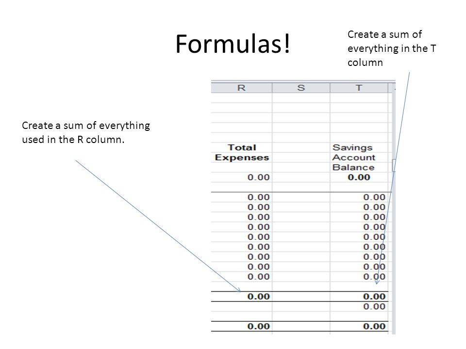 Formulas. Create a sum of everything used in the R column.