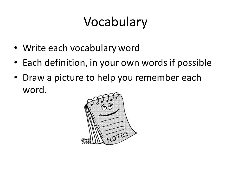 Vocabulary Write each vocabulary word Each definition, in your own words if possible Draw a picture to help you remember each word.