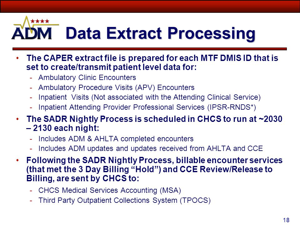 17 Encounter Data Extracts DATA ELEMENTSADR 5CAPER 13BILLING HIPAA standard data elements: Injury Related Cause Codes Geographic Location of Injury (M