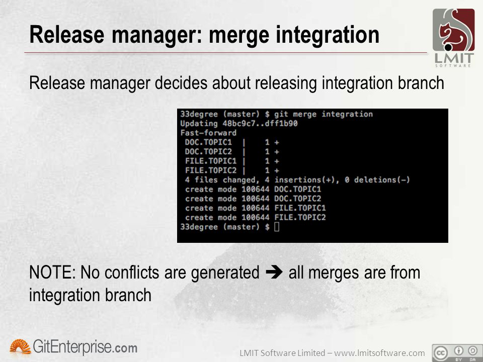 LMIT Software Limited – www.lmitsoftware.com.com Release manager: merge integration Release manager decides about releasing integration branch NOTE: N