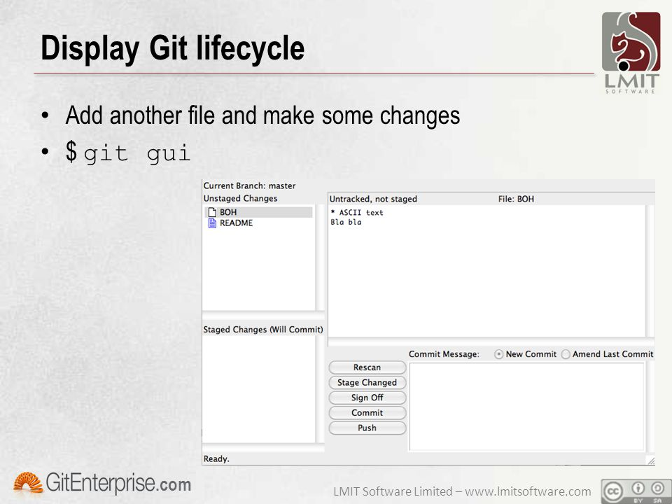 LMIT Software Limited – www.lmitsoftware.com.com Display Git lifecycle Add another file and make some changes $ git gui