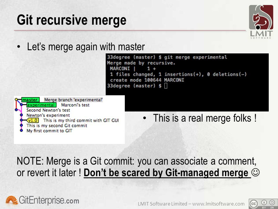 LMIT Software Limited – www.lmitsoftware.com.com Git recursive merge Let's merge again with master This is a real merge folks ! NOTE: Merge is a Git c