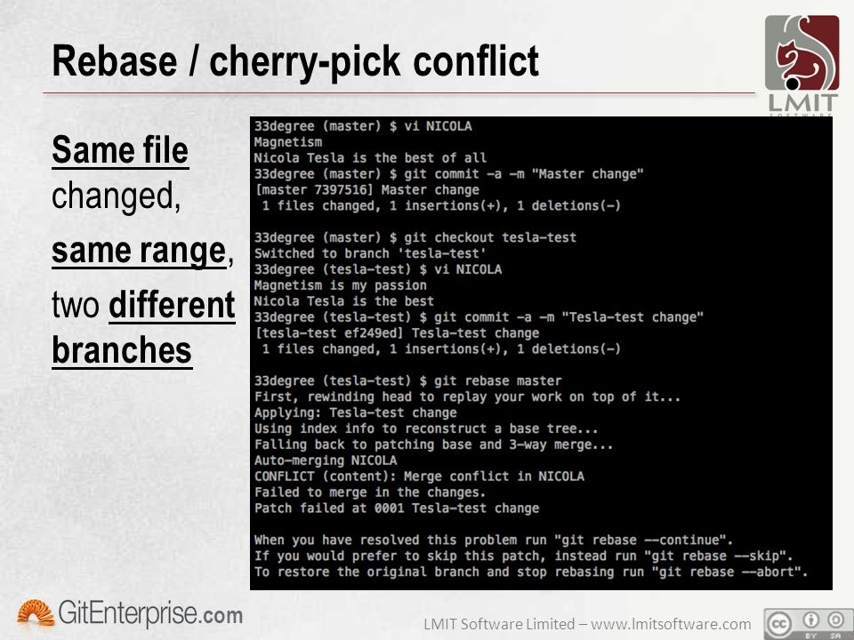 LMIT Software Limited – www.lmitsoftware.com.com Rebase / cherry-pick conflict Same file changed, same range, two different branches