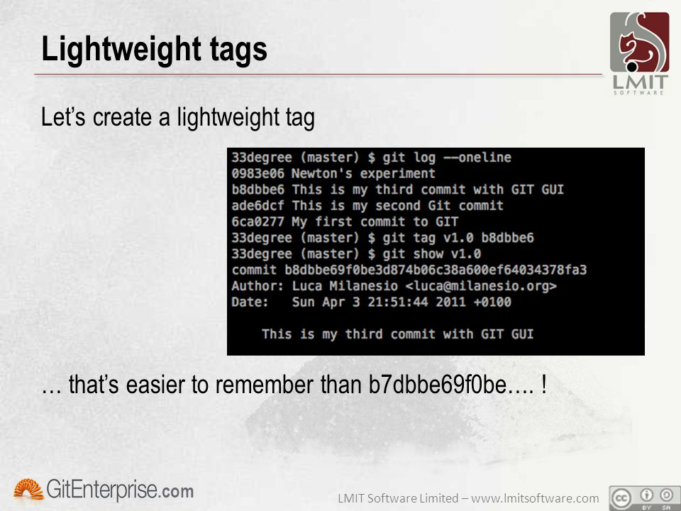 LMIT Software Limited – www.lmitsoftware.com.com Lightweight tags Let's create a lightweight tag … that's easier to remember than b7dbbe69f0be…. !