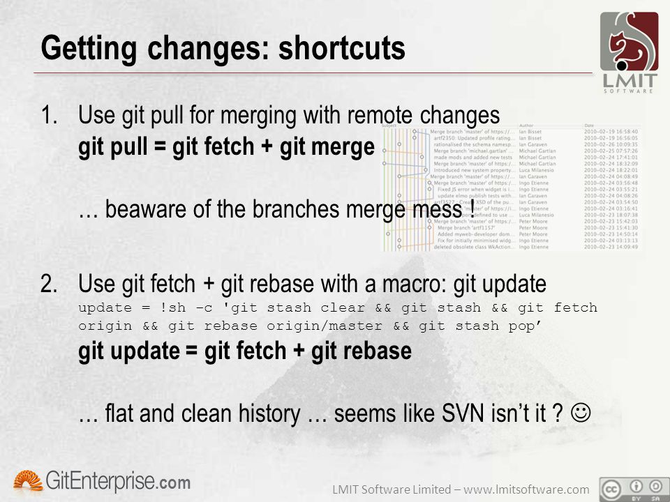 LMIT Software Limited – www.lmitsoftware.com.com Getting changes: shortcuts 1.Use git pull for merging with remote changes git pull = git fetch + git merge … beaware of the branches merge mess .