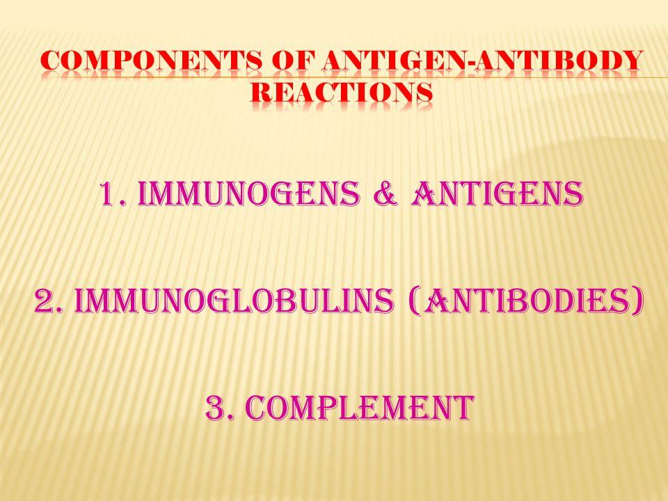 1. Immunogens & Antigens 2. Immunoglobulins (Antibodies) 3. Complement