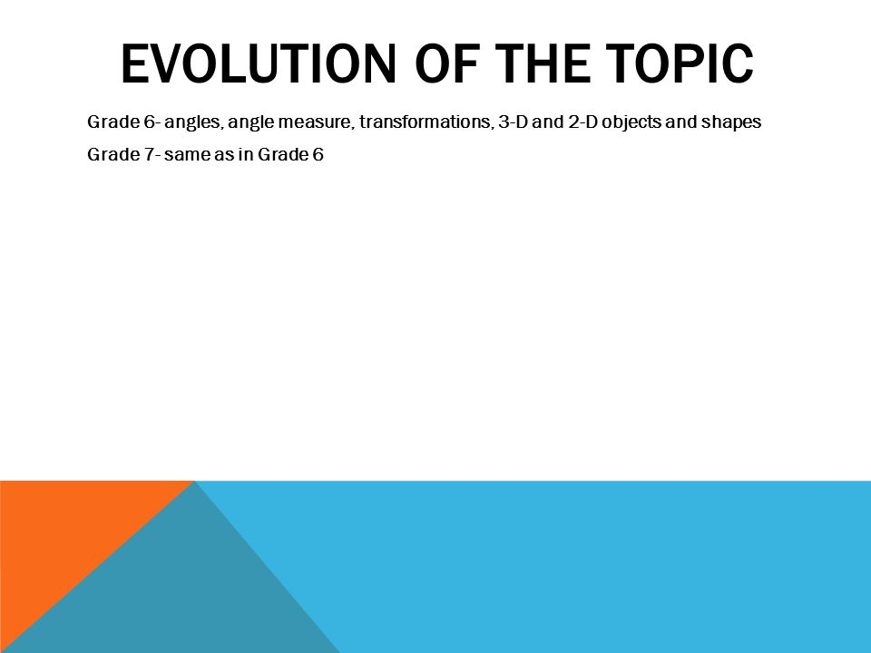 EVOLUTION OF THE TOPIC Grade 6- angles, angle measure, transformations, 3-D and 2-D objects and shapes Grade 7- same as in Grade 6
