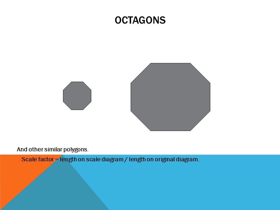 OCTAGONS And other similar polygons. Scale factor = length on scale diagram / length on original diagram.