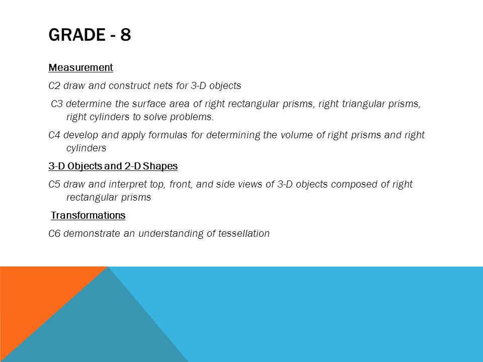 GRADE - 8 Measurement C2 draw and construct nets for 3-D objects C3 determine the surface area of right rectangular prisms, right triangular prisms, r