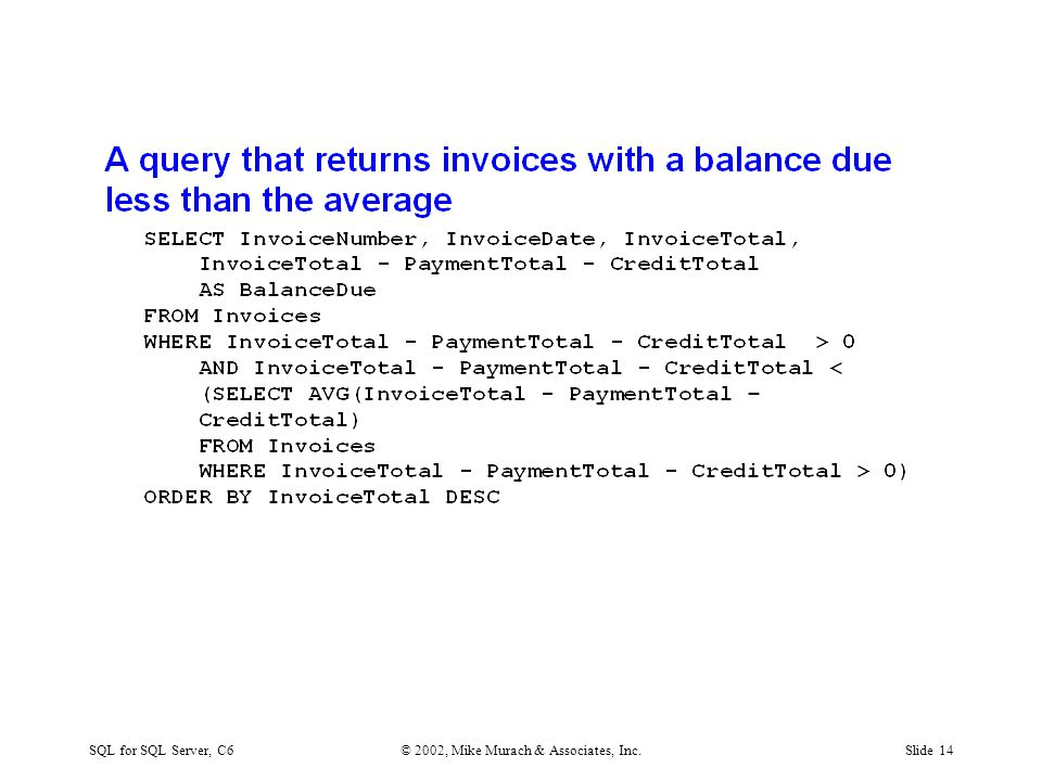 SQL for SQL Server, C6© 2002, Mike Murach & Associates, Inc.Slide 14