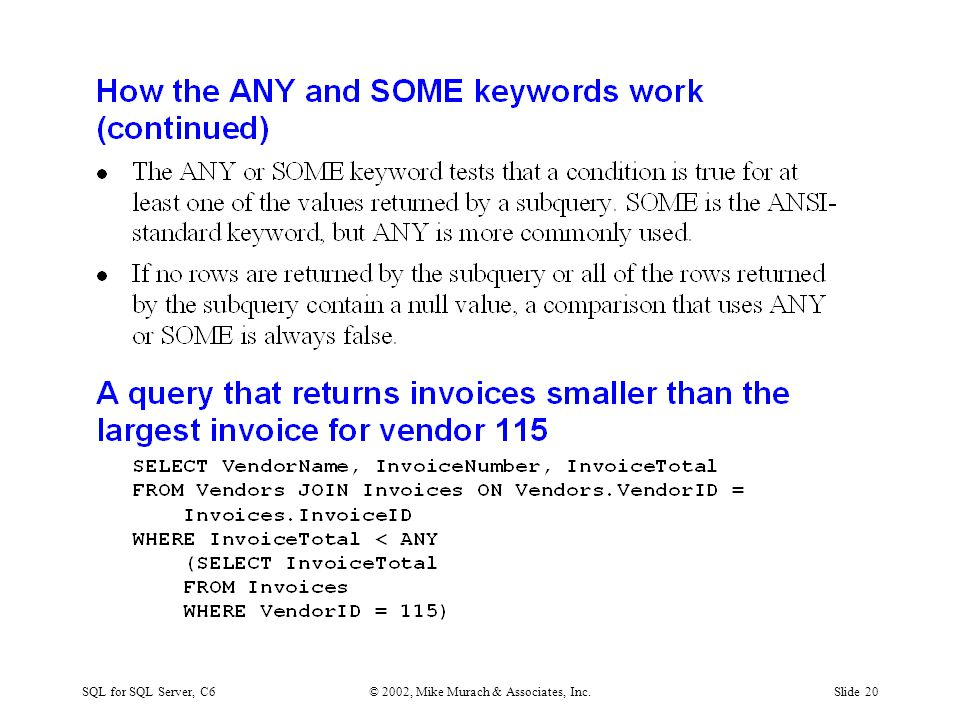SQL for SQL Server, C6© 2002, Mike Murach & Associates, Inc.Slide 20