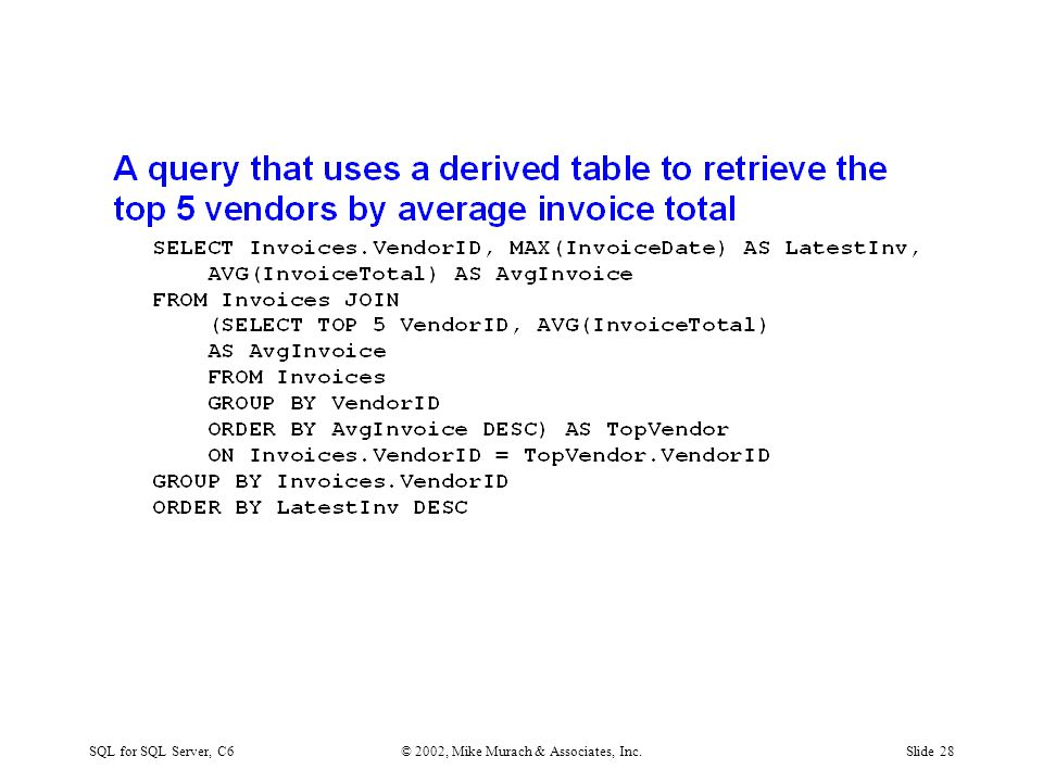 SQL for SQL Server, C6© 2002, Mike Murach & Associates, Inc.Slide 28