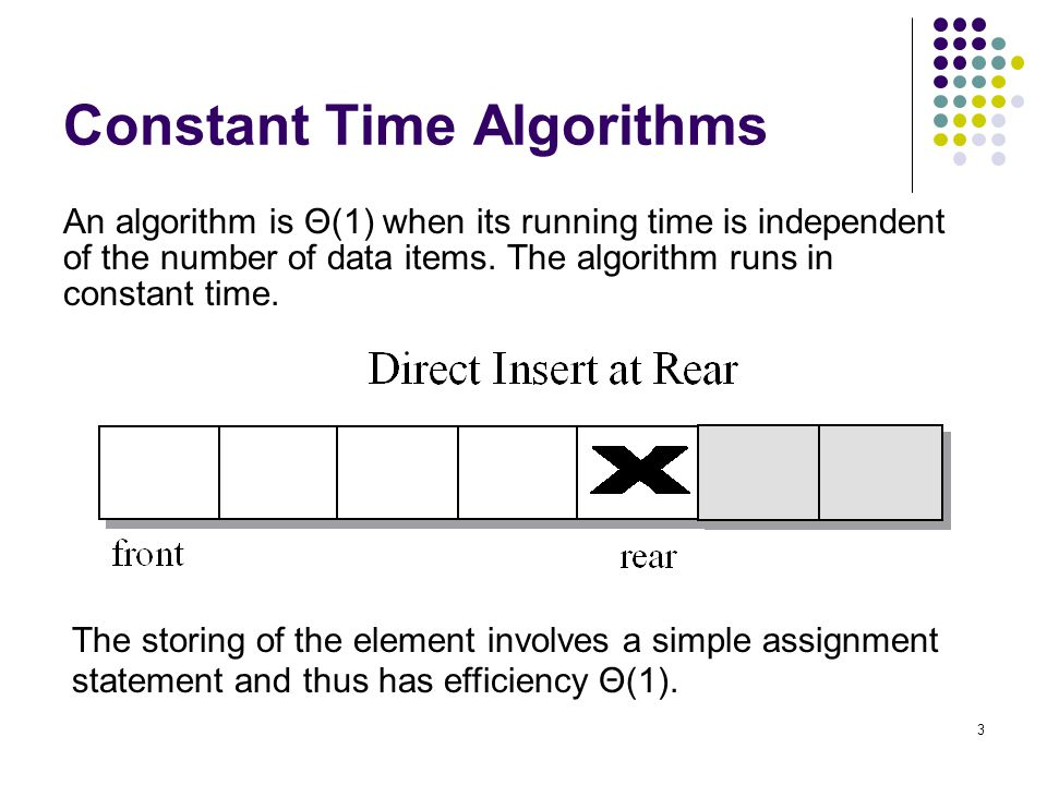 4 Linear Time Algorithms An algorithm is Θ(n) when its running time is proportional to the size of the list.