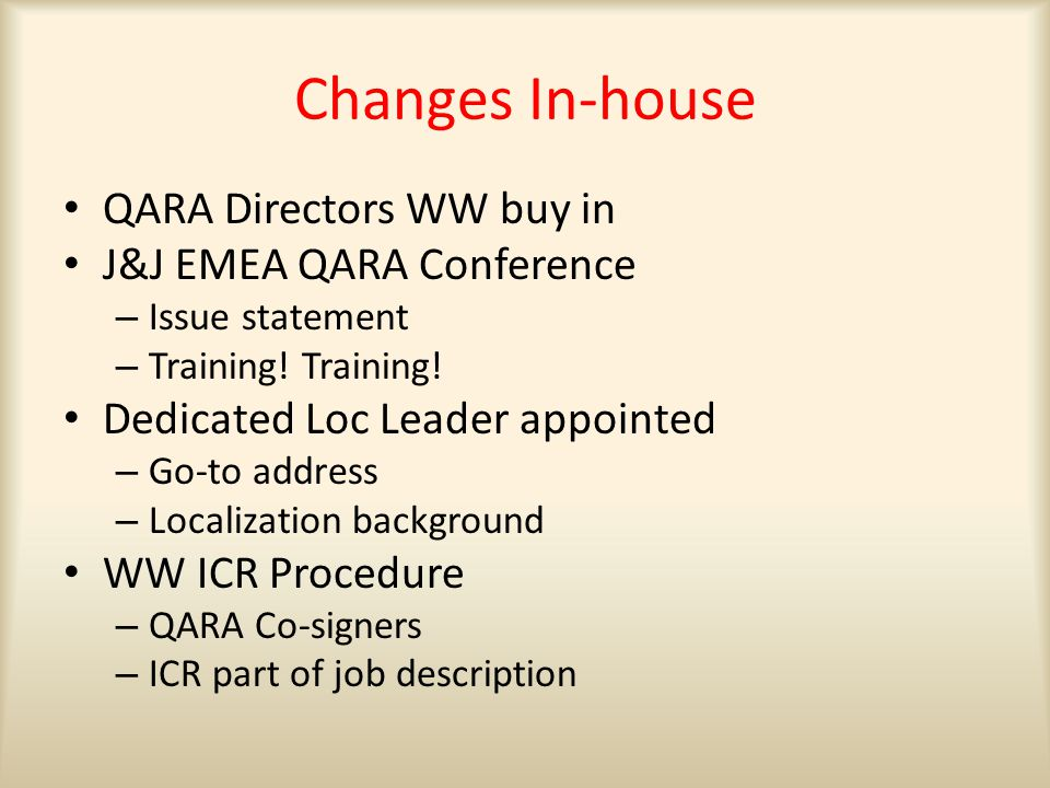 Changes In-house QARA Directors WW buy in J&J EMEA QARA Conference – Issue statement – Training.