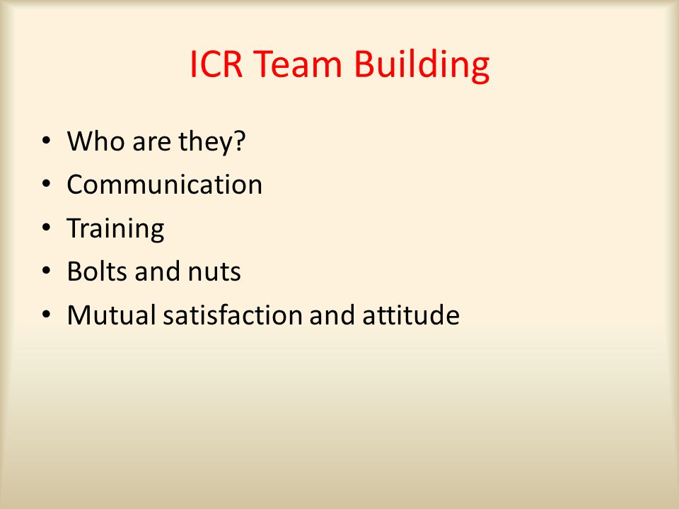 ICR Team Building Who are they.