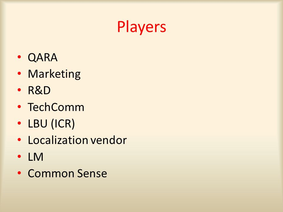 Players QARA Marketing R&D TechComm LBU (ICR) Localization vendor LM Common Sense
