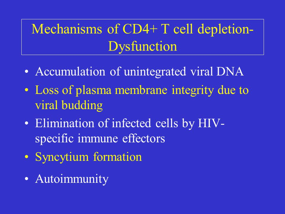 Mechanisms of CD4+ T cell depletion- Dysfunction Accumulation of unintegrated viral DNA Loss of plasma membrane integrity due to viral budding Elimination of infected cells by HIV- specific immune effectors Syncytium formation Autoimmunity