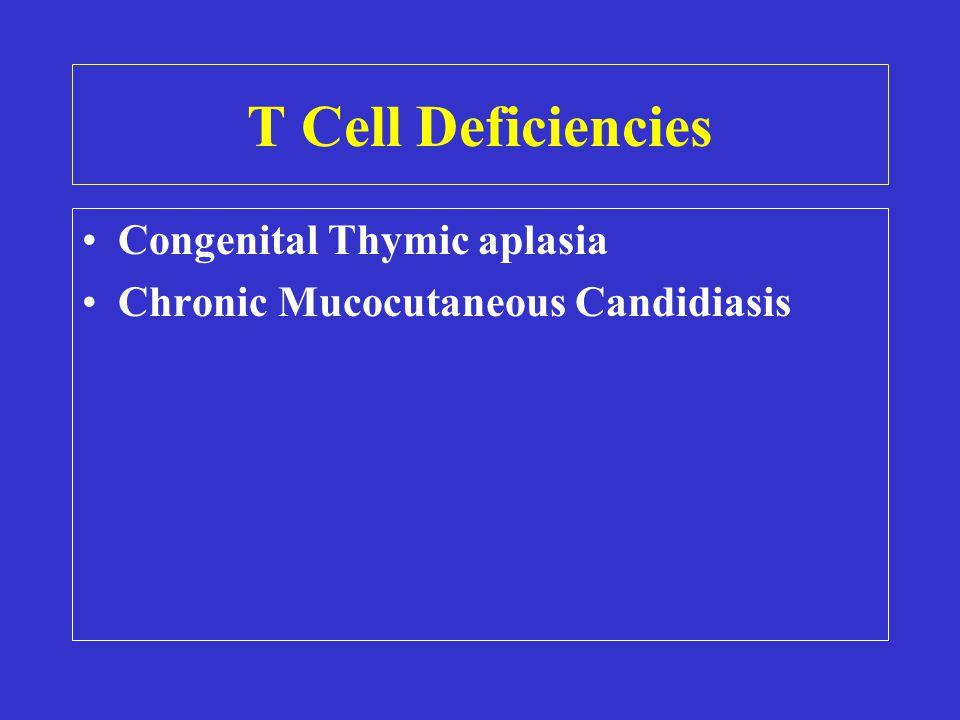 T Cell Deficiencies Congenital Thymic aplasia Chronic Mucocutaneous Candidiasis
