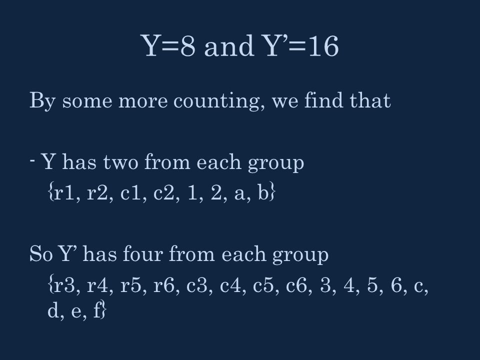 Y=8 and Y'=16 By some more counting, we find that - Y has two from each group {r1, r2, c1, c2, 1, 2, a, b} So Y' has four from each group {r3, r4, r5,