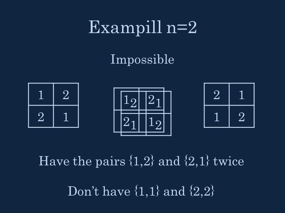 Exampill n=2 Impossible 12 21 21 12 21 12 12 21 Have the pairs {1,2} and {2,1} twice Don't have {1,1} and {2,2}