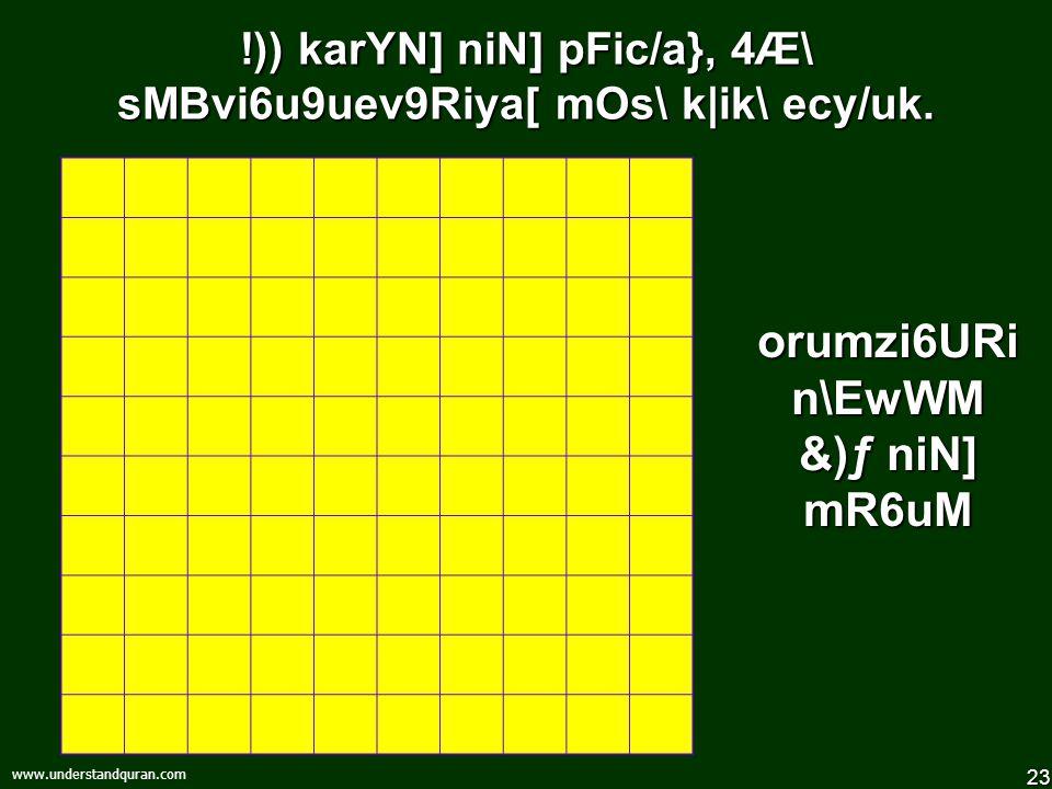 "22 www.understandquran.com kuRi""\ * niN] 4Æ\ pFic/aluM 1t\ mR6uM 1tina} Av{8i6zM Av{8nM 1nivarYM, 49a} Av{8n sis\maz\ vLer `pXanM"