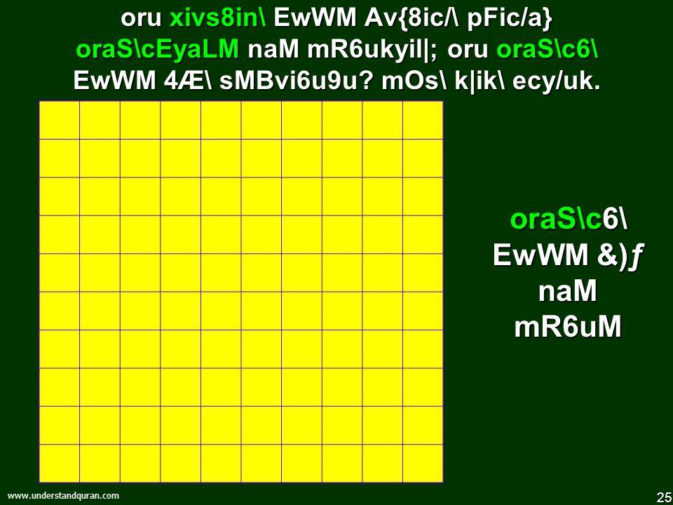 24 www.understandquran.com orumzi6URin\ EwWM Av{8ic/\ pFic/a} oru xivsE8aLM naM mR6ukyil|; oru xivs8in\ EwWM 4Æ\ sMBvi6u9u.