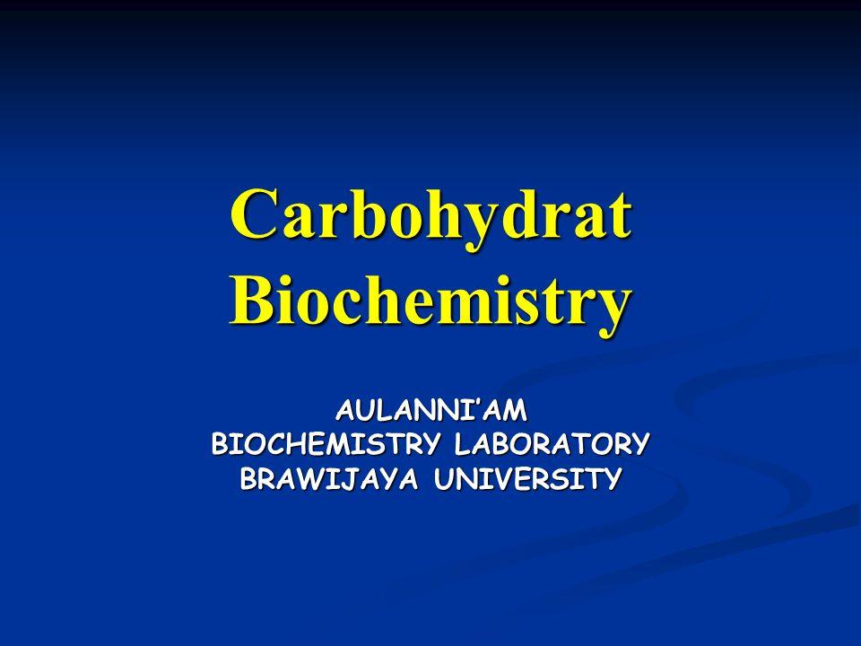 Carbohydrat Biochemistry AULANNI'AM BIOCHEMISTRY LABORATORY BRAWIJAYA UNIVERSITY