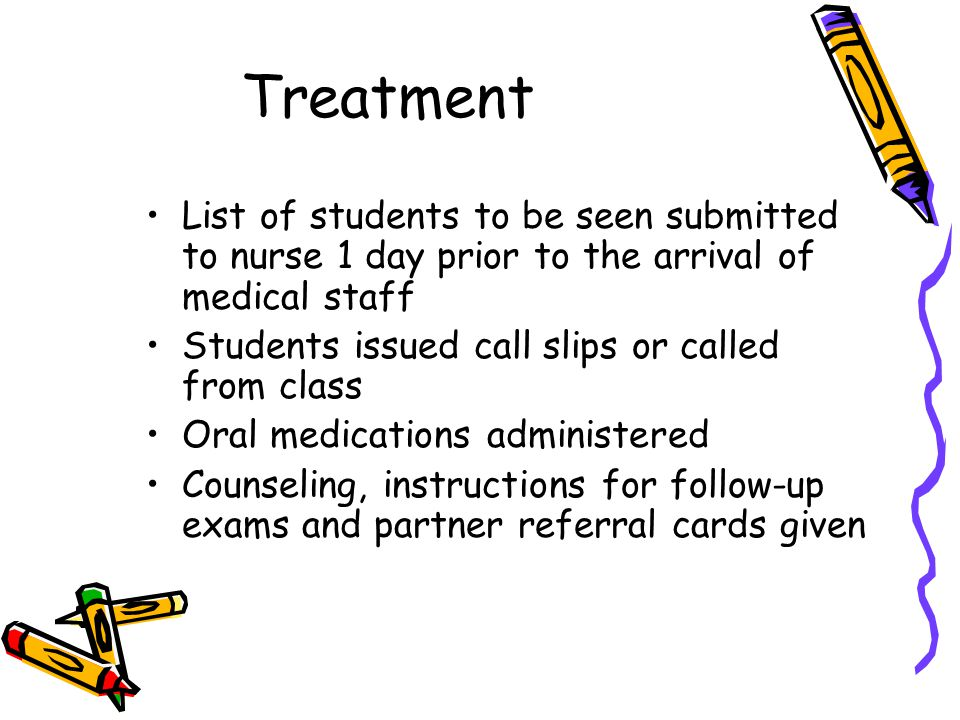 Treatment List of students to be seen submitted to nurse 1 day prior to the arrival of medical staff Students issued call slips or called from class Oral medications administered Counseling, instructions for follow-up exams and partner referral cards given