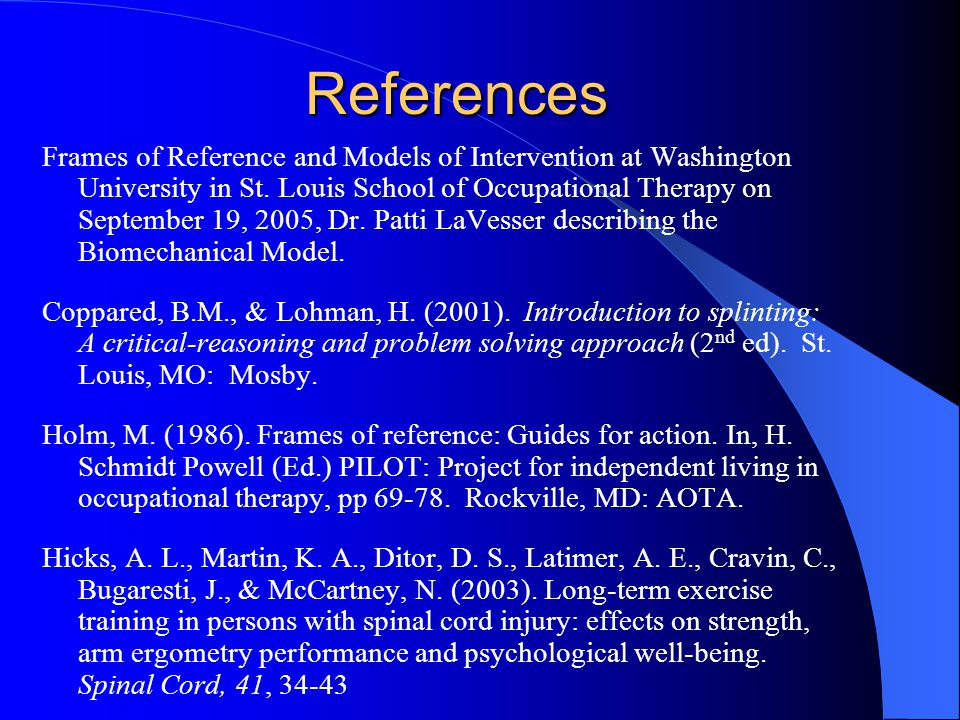References Frames of Reference and Models of Intervention at Washington University in St.