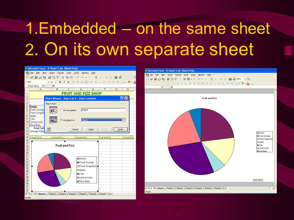 1.Embedded – on the same sheet 2. On its own separate sheet