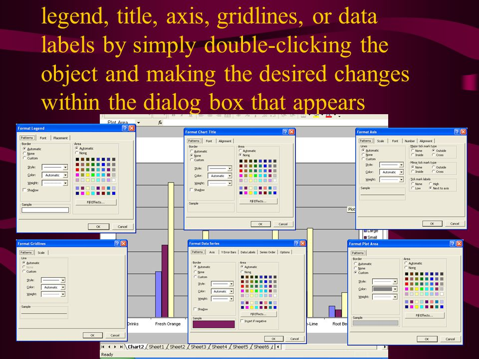 legend, title, axis, gridlines, or data labels by simply double-clicking the object and making the desired changes within the dialog box that appears