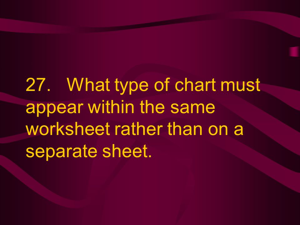 27. What type of chart must appear within the same worksheet rather than on a separate sheet.